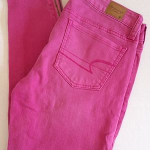 American Eagle pink stretch Jean jeggings size 2